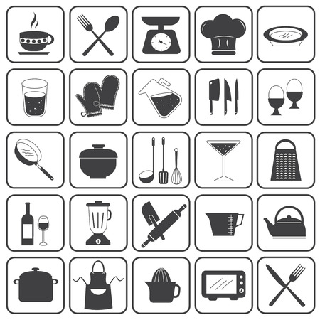Basic Cooking Icons Vector Set Illustration