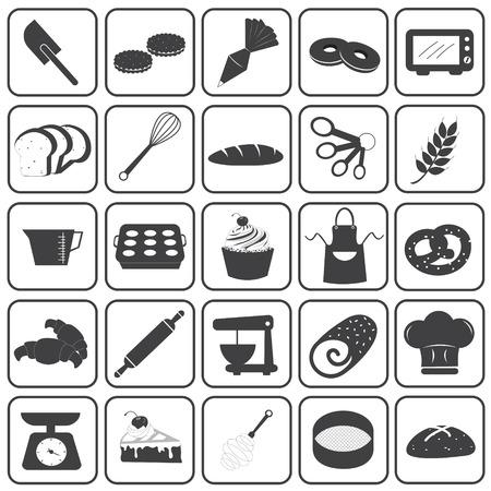 Basic Bakery Icons Vector Set Vector