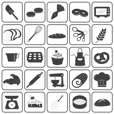 pastry cutters: Basic Bakery Icons Vector Set