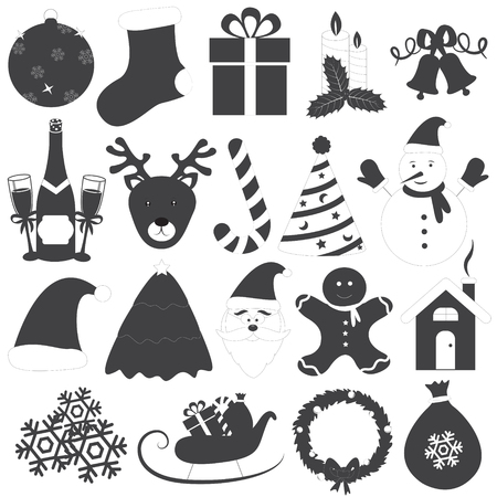 Black and White Christmas Icons Vector Set Vector
