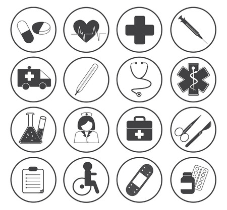 nursing treatment: Basic Medical Icons Vector Collection