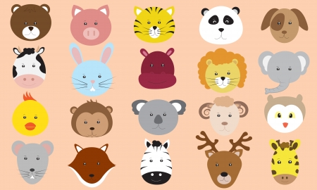 Cute Animals Faces Icons Vector Collection Vector