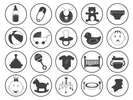 black baby boy: Baby Icons Vector Collection Illustration
