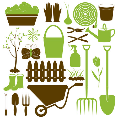 seedling growing: Vector Gardening Icons Collection