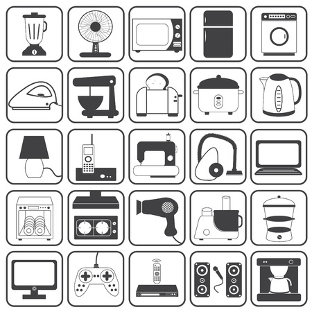 hoover: Home Appliance Icons Vector Set