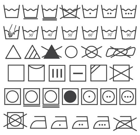 laundry care: Laundry Icons Vector Set  Washing Symbol