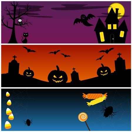 Halloween Banners Vector Set Vector