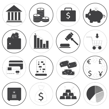 Basic Money Icons Vector Collection Vector