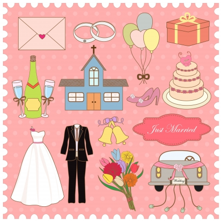 church bell: Wedding Items Vector Collection Illustration
