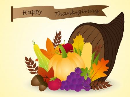 harvest cone cornucopia: Vector of Cornucopia with Harvest Fruits  Thanksgiving Illustration