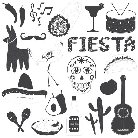 maraca: Mexico Party Icons Vector Illustrations Set Illustration