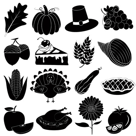 Thanksgiving Icons Vector Set Vector