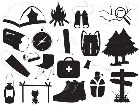 sleeping bag: Camping Icons Vector Collection