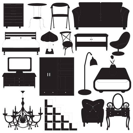 bedroom furniture: Home Furniture Icons Vector Set