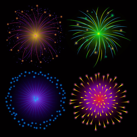 Colorful Fireworks on Dark Background Vector