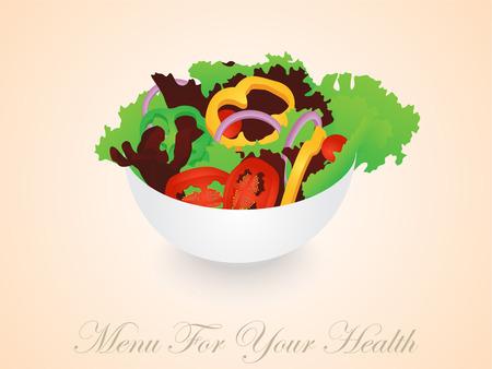 Isolated Vegetables Salad Bowl Ilustracja