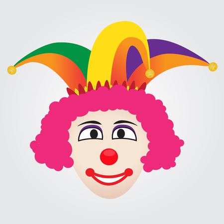 jester hat: Joker Face With Jester Hat Illustration