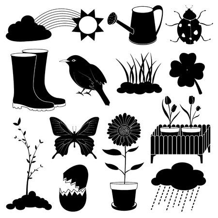 Spring Season Icons Collection Vector