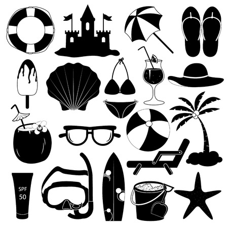 sand castle: Summer Icons Vector Collection