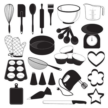 measuring spoon: Baking Tool Icons Set