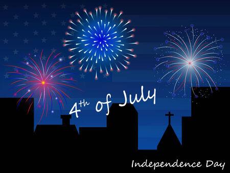 4th of July Fireworks Background Illustration