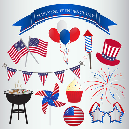 Icons design for 4th of July  Independence day Vector