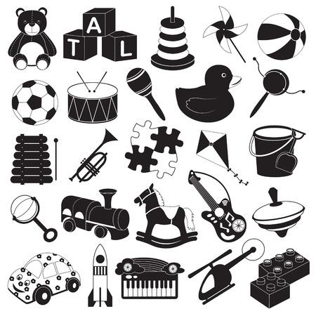 Children Toys Icon Set Vector