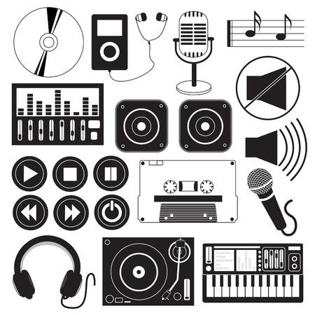 speakers desk: Digital Music and Icons Theme Illustration