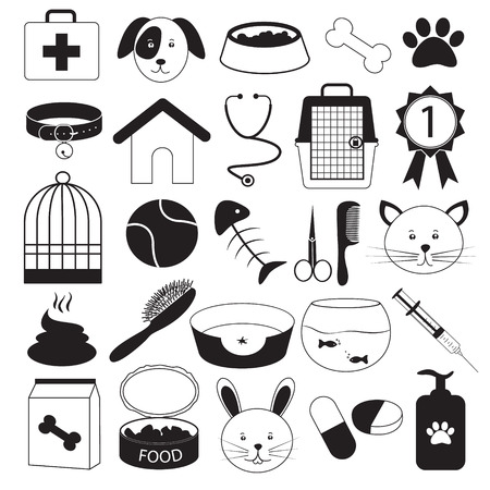 cat grooming: Veterinary Clinic and Pet Icons Set