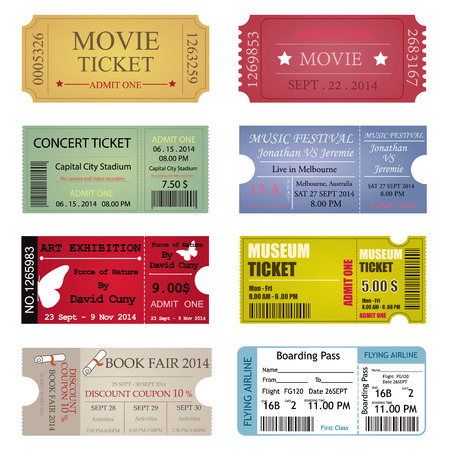 Ticket Template Designs Vectores