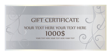 certification: Gift Certification With Silver Background And Swirl Illustration
