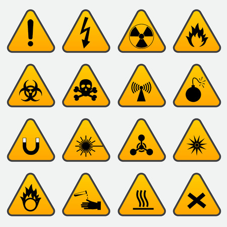 oxidising: Warning Hazard Triangle Signs Illustration