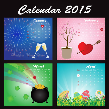saturday night: Holiday Calendar of 2015: January, February, March, April