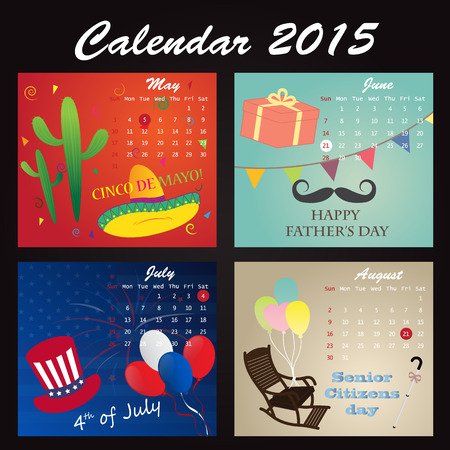 Holiday Calendar of 2015:May, June, July, August Vector