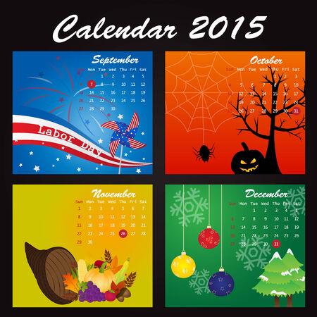 Calendario de vacaciones de 2015: Septiembre, Octubre, Noviembre, Diciembre