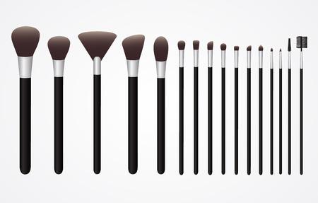 make up face: Set of Cosmetic Brushes for Make up Illustration