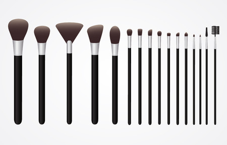 Set of Cosmetic Brushes for Make up Illustration