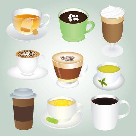 basic: Basic Hot Drinks Set Illustration