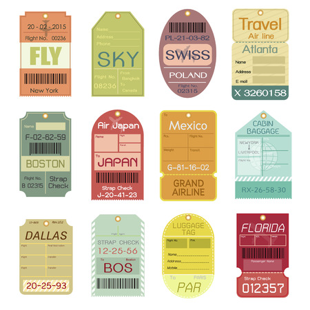 bagagli: Set di Vintage Etichette per Bagagli