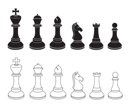king master: Set of Chess Icons in Black and White