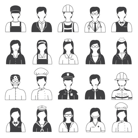 Fireman: Career People and Occupation Icons Set