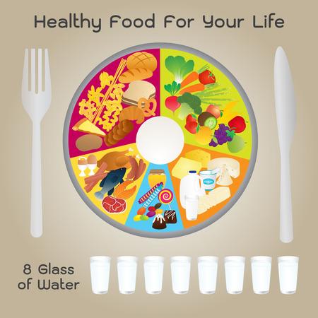 vite: Healthy Food For Life Piastra design Vettoriali