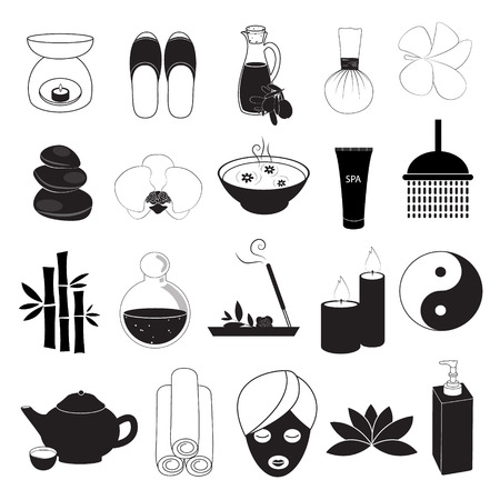 massage therapist: Spa and Aroma Icons Set