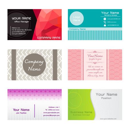 tel: Set of Name Cards Template Illustration