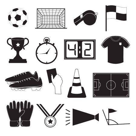 corner kick soccer: Soccer or Football Icons Set Illustration