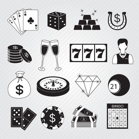 wheel of fortune: Casino Icons Vector Set