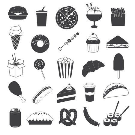 Junk Food Icons Collection Vecteurs