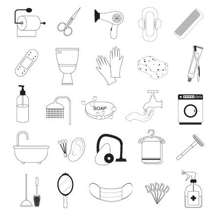 sanitary napkin: Hygiene And Bathroom Icons Set