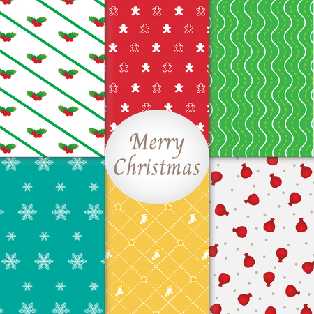 Merry Christmas Pattern Background Collection Vector Illustration
