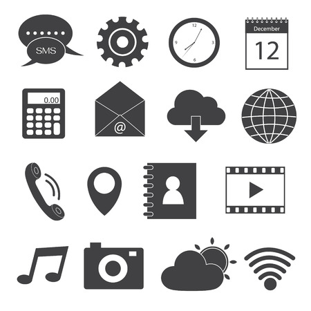 massage symbol: Mobile Application Icons Set